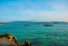 Beautiful landscape sea and boats. Boracay, Philippines. Royalty Free Stock Photos