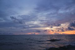 Beautiful landscape with the sea and cloud in the sunset royalty free stock photos