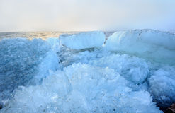 Beautiful landscape of the sea with rubble ice Stock Photos