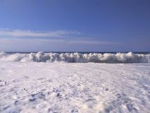 Beautiful landscape of sea wave with white foam stock images