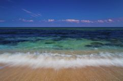 Beautiful landscape with sea waves on the beach stock image