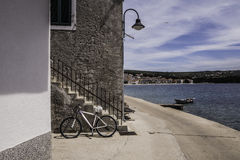 Beautiful landscape of seaside promenade and bicycle on it. Stock Photos