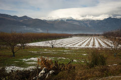 Beautiful landscape with snow-covered fields and fog in the moun Stock Photography
