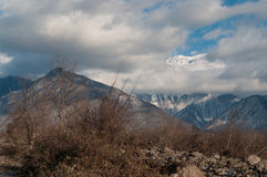 Beautiful Landscape of snowy winter greater Caucasus mountains. Sunny weather, trees clouds fields of Azerbaijan nature Royalty Free Stock Photos
