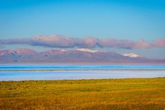 Song Kul lake with mountains, Kyrgyzstan Stock Photo