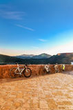 Beautiful landscape and sport bikes parked on the observation platform. Royalty Free Stock Images