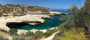St. Peter`s Pool Beach in Malta. Beautiful landscape of St. Peter`s Pool in Malta during  summer day Royalty Free Stock Photography