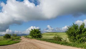 Beautiful landscape of steppe road Stock Images