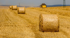 Beautiful landscape with straw bales in harvested fields Royalty Free Stock Image