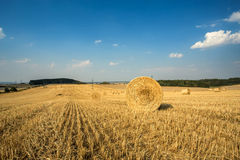 Beautiful landscape with straw bales in harvested fields Royalty Free Stock Photos