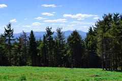 Beautiful landscape of summer forest in Carpathian mountains. Final stop after climbing. Lunch time on grass in sunny royalty free stock photography