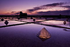 Beautiful landscape of a summer with a salt farm. In Tainan, Taiwan Stock Image