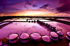 Beautiful landscape of a summer with a salt farm Royalty Free Stock Image