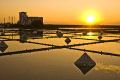 Beautiful landscape of a summer with a salt farm Stock Images