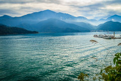 Beautiful Landscape of Sun Moon Lake in the morning with blue mo Royalty Free Stock Image