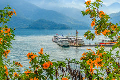 Beautiful Landscape of Sun Moon Lake in the morning with mountai Royalty Free Stock Photo