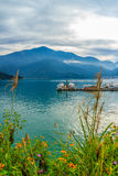 Beautiful Landscape of Sun Moon Lake in the morning with mountai Royalty Free Stock Photos