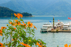 Beautiful Landscape of Sun Moon Lake in the morning with mountai Royalty Free Stock Images