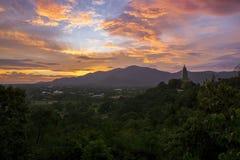 Beautiful landscape sun rising sky and buddha pagoda in chonburi Royalty Free Stock Photo