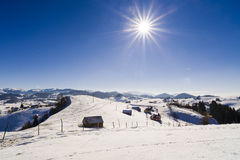 beautiful landscape with the sun shining winter day Royalty Free Stock Photo