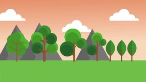 Beautiful nature landscape HD animation. Beautiful landscape on sunny day High definition colorful animation scenes royalty free illustration