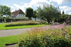 Copenhagen, Denmark - August 22,2017: Nice view with house and colorful flowers stock photography