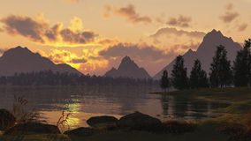 Beautiful landscape. With sunrise clouds lake mountain and trees Royalty Free Stock Image