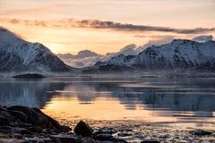 Beautiful landscape at sunrise in Lofoten. Beautiful landscape at sunrise from Lofoten, Norway royalty free stock images