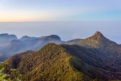 View from the Adams peak, Sri Lanka. Beautiful landscape at sunrise viewed from Adams peak, Sri Lanka stock images