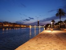 Night time in seville stock photo