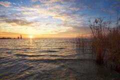Beautiful landscape with sunset sky, reservoir, reeds Royalty Free Stock Photos