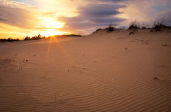 Beautiful Landscape with sunset sky and wavy sand. Stock Image