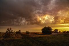 Beautiful landscape at sunset somewhere in the country in Romani. A Royalty Free Stock Images