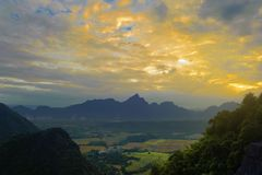 Beautiful landscape sunset from top view on the moutain. Of vang vieng, laos royalty free stock image