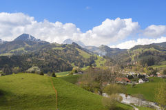 Beautiful landscape in Switzerland, Gruyeres Stock Images