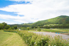 Beautiful landscape of Takayama mura at sunny summer or spring day and blue sky in Kamitakai District in northeast Nagano Stock Photo
