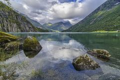 Stryn lake in Norway next to a camping royalty free stock images
