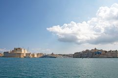 Malta, Landscape of the Three Cities, view from Valletta. Beautiful landscape of the Three Cities, located opposite, the Valletta, Malta. They are located around Stock Images