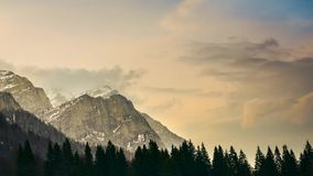 Beautiful Landscape Time Lapse Of Mountain Peaks And Clouds Royalty Free Stock Photos