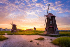 Beautiful landscape and traditional windmills Stock Images