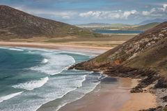 Beautiful landscape of Tranarossan Bay, Donegal, Ireland. Journey on the Wild Atlantic Way coastal route on Rosguill Peninsula Stock Image