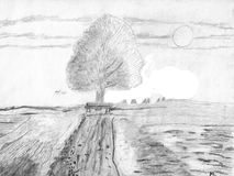 Beautiful Landscape with a Tree and Fields. Pencil drawing. The image is hand drawn Royalty Free Stock Photography