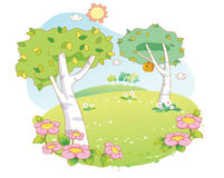 Beautiful landscape trees cartoon Royalty Free Stock Images
