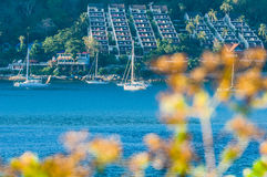 Beautiful Landscape and Tropical over the blue sea with yacht or sailing or sailboat in the background and blur flower in the fore. Ground. Phromthep cape Royalty Free Stock Images