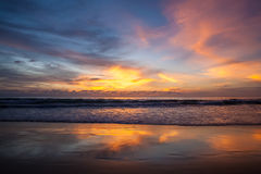 Beautiful landscape with tropical sea sunset on the beach Stock Photo