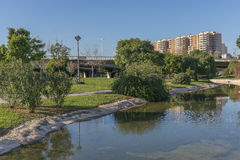 Beautiful landscape of Turia River gardens Jardin del , leisure and sport area in Valencia. With trees, grass  wate Royalty Free Stock Photography