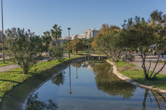Beautiful landscape of Turia River gardens Jardin del , leisure and sport area in Valencia. With trees, grass water Stock Photos