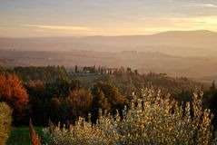 The beautiful landscape in Tuscany. Landscape in Greve in Chianti, Tuscany, Italy stock photos