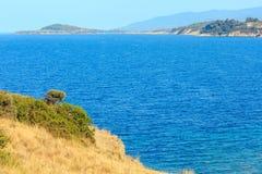Aegean Sea coast (Halkidiki, Greece). Summer Aegean Sea coast landscape (Ormos Panagias, Halkidiki, Greece&#x29 Stock Image