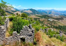 Ruins of the original settlement of Maratea. italy. The ruins of the original settlement of Maratea on a rocky escarpment just below the Christ the Redeemer Royalty Free Stock Photography